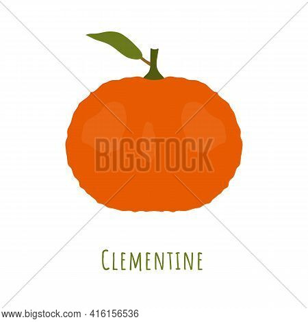 Single One Clementine Fruit With Leaf Isolated On White, Made In Flat Style. No Outlined Symmetrical