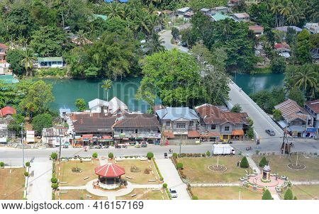 BOHOL, PHILIPPINES - APRIL 5, 2016: Aerial view of town on Bohol Island. Bohol, is a province of the Philippines, in the country's Central Visayas region.