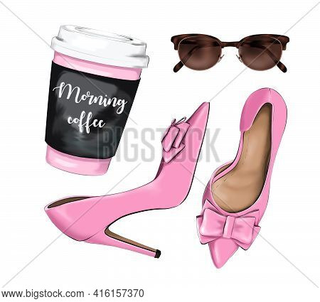 Fashion Set With Paper Coffee Cup, Stylish Pink Shoes And Sunglasses. Beautiful Accessory Flat Lay.