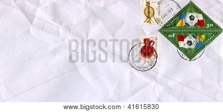 UKRAINE - CIRCA 2012: Mailing envelope with postage stamps dedicated to: Euro 2012; Ukrainian culture, circa 2012.