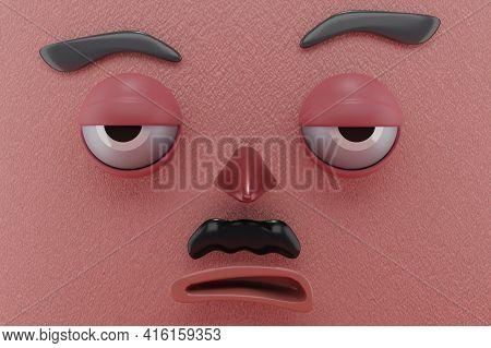 3d Rendering Of Unique Face And Relax Emotion, And Pink Paper Wall . Perfect For Illustration, Backg