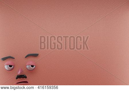 3d Rendering Of Unique And Lazy Emotion, Glanced Right And Pink Paper Wall . Perfect For Illustratio