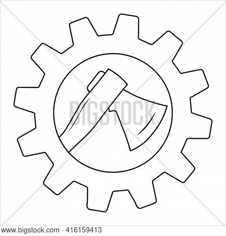 Ax In Gear Icon Stock Illustration Simple Design. Silhouette Of An Ax. Flat Style