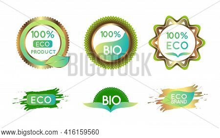Skincare Natural Vectors. Bio-organic Gold Eco-green Labels For Bio And Natural Food With Text 100 P