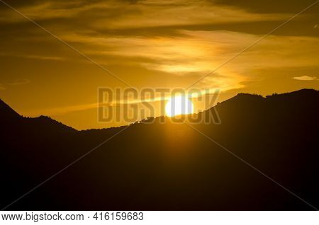View Of The Horizon At Sunrise On A Rolling Hillside Close To Huesca, Saragossa Province, Aragon, Sp