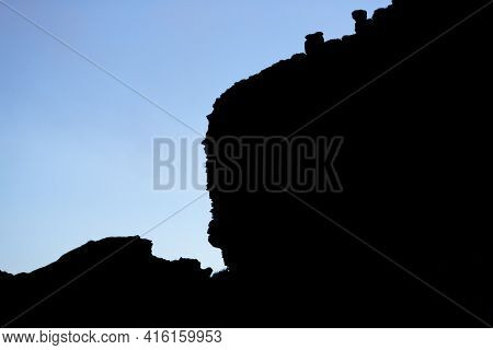 Silhouette Of Cliffs, Clouds And Blue Sky In Mount Roraima