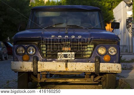 Buenos Aires, Argentina, November 18: Front View Of Vintage Blue Fargo Car In The Street Of Buenos A