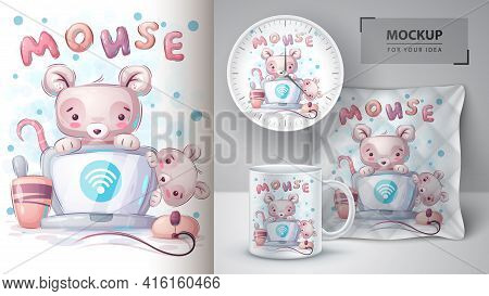 Mouse Connects Wi-fi Poster And Merchandising. Vector Eps 10