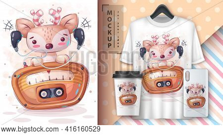 Cute Deer Listen Music Poster And Merchandising. Vector Eps 10