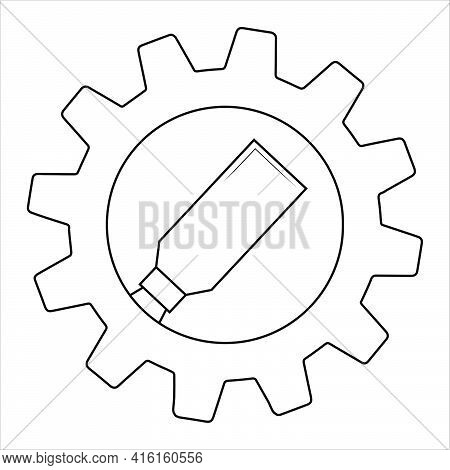 Putty Knife On Gear Flat Icon, Build And Repair, Spatula Sign Vector Graphics.  Simple Illustration