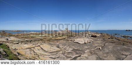 Tregastel, The Dice Or The Rock In Pink Granite Coast. Armor Coast, Brittany, France. Europe.