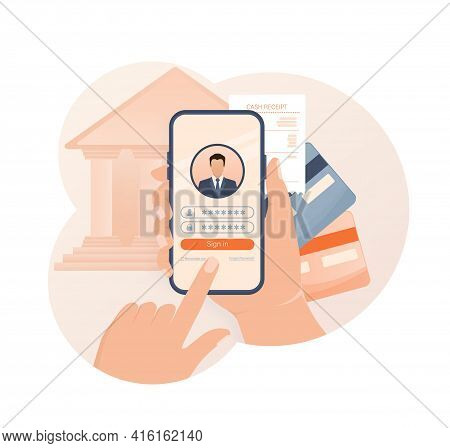 Line Banking People For Account Page Design. Isometric Vector Illustration. Bank Online. Vector Illu