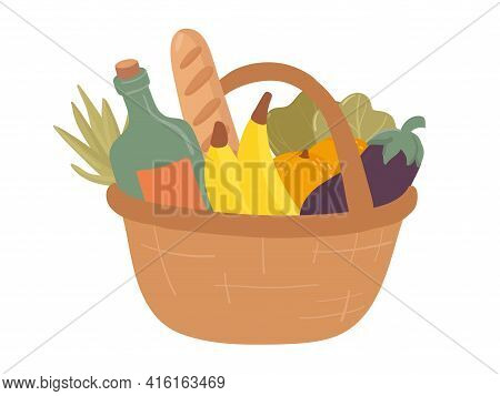 Shopping Hand Drawn Basket Flat Vector Illustrations. Grocery Purchase,  Package  With Products.  Wa