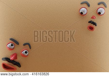 3d Rendering Of Unique Emotion, Glanced At Each Other And Brown Paper Wall . Perfect For Illustratio