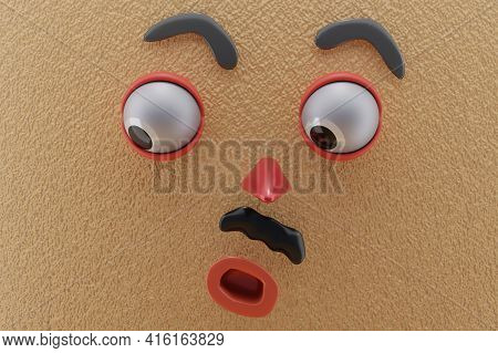 3d Rendering Of Unique Emotion, Shocked Emotion, Glanced Below Left And Brown Paper Wall. Perfect Fo