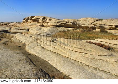 Long Layered Volcanic Stepped Mountains In The Bektau-ata Tract In Summer, Sunny. Beautiful Volcanic