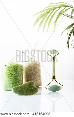 Cosmetic Salt And Cosmetics. Womens Body And Skin Care. Vertical Frame.