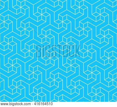 Vector Design Of Geometric Lines Pattern With Three-dimensional Shape, Three-dimensional Effect Patt