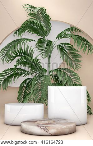 3d White And Beige Pedestal Podium Set, Palm Tree Leaf Against Brown Natural Background. Geometric S