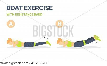 Back Boat With Resistance Band Exercise Guidance. Girls Back Strength Workout With Elastic Band.