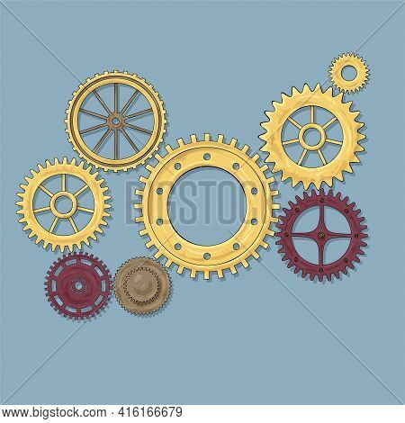 Vector Illustration Of A Gear. Colored Round Gear Elements Of The Mechanism. Group Isolated Details.