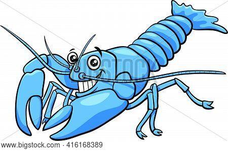 Cartoon Illustration Of Funny Yabby Crayfish Animal Character