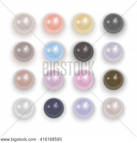 Set Of Realistic Pearls With Different Colors, Pearl Oyster, Precious Gem On White Background Vector