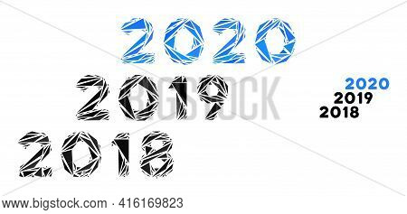 Triangle Mosaic 2018 - 2020 Years Icon. 2018 - 2020 Years Vector Mosaic Icon Of Triangle Items Which