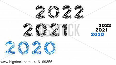 Triangle Mosaic 2020 - 2022 Years Icon. 2020 - 2022 Years Vector Mosaic Icon Of Triangle Elements Wh