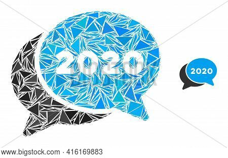 Triangle Mosaic 2020 Chat Messages Icon. 2020 Chat Messages Vector Mosaic Icon Of Triangle Items Whi