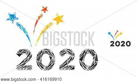 Triangle Mosaic 2020 Fireworks Icon. 2020 Fireworks Vector Mosaic Icon Of Triangle Items Which Have