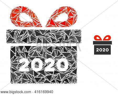 Triangle Mosaic 2020 Gift Icon. 2020 Gift Vector Mosaic Icon Of Triangle Elements Which Have Variabl