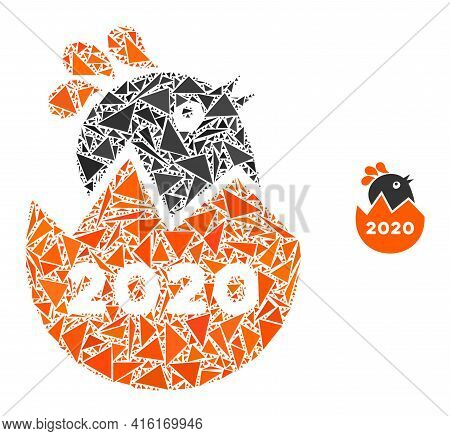 Triangle Mosaic 2020 Hatch Chick Icon. 2020 Hatch Chick Vector Mosaic Icon Of Triangle Elements Whic