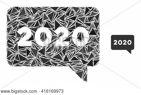 Triangle Mosaic 2020 Message Icon. 2020 Message Vector Mosaic Icon Of Triangle Items Which Have Diff