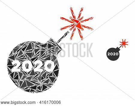Triangle Mosaic 2020 Petard Icon. 2020 Petard Vector Mosaic Icon Of Triangle Elements Which Have Var