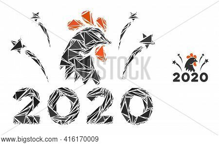 Triangle Mosaic 2020 Rooster Fireworks Icon. 2020 Rooster Fireworks Vector Mosaic Icon Of Triangle I