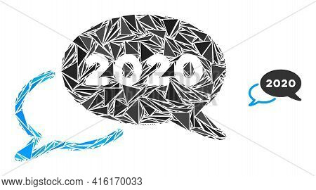 Triangle Mosaic 2020 Webinar Icon. 2020 Webinar Vector Mosaic Icon Of Triangle Elements Which Have V