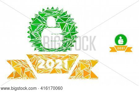 Triangle Mosaic 2021 Award Ribbon Icon. 2021 Award Ribbon Vector Mosaic Icon Of Triangle Elements Wh