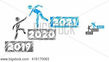 Triangle Mosaic 2021 Buisiness Training Stairs Icon. 2021 Buisiness Training Stairs Vector Mosaic Ic