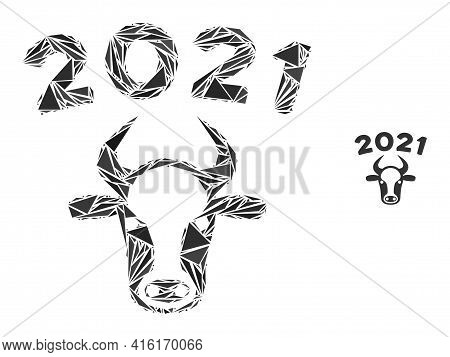 Triangle Mosaic 2021 Bull Icon. 2021 Bull Vector Mosaic Icon Of Triangle Elements Which Have Various