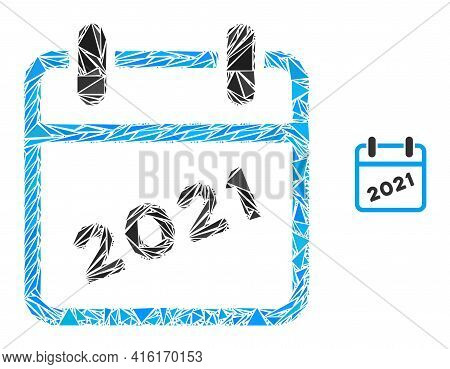 Triangle Mosaic 2021 Calendar Icon. 2021 Calendar Vector Mosaic Icon Of Triangle Items Which Have Va