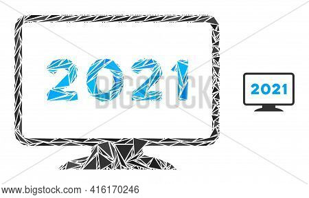 Triangle Mosaic 2021 Display Icon. 2021 Display Vector Mosaic Icon Of Triangle Items Which Have Diff