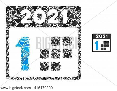 Triangle Mosaic 2021 First Day Icon. 2021 First Day Vector Mosaic Icon Of Triangle Items Which Have