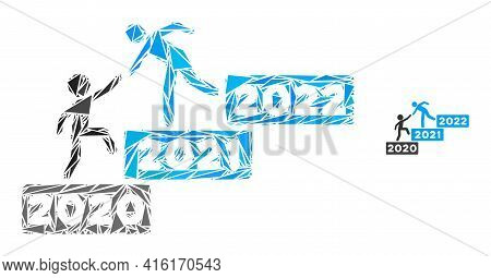 Triangle Mosaic 2022 Buisiness Training Stairs Icon. 2022 Buisiness Training Stairs Vector Mosaic Ic