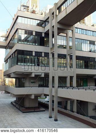 Leeds, West Yorkshire, United Kingdom - 25 April 2019: The Brutalist 1960s Irene Manton Building At