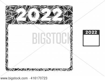 Triangle Mosaic 2022 Calendar Icon. 2022 Calendar Vector Mosaic Icon Of Triangle Items Which Have Va