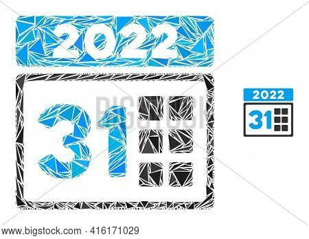 Triangle Mosaic 2022 Last Day Icon. 2022 Last Day Vector Mosaic Icon Of Triangle Elements Which Have