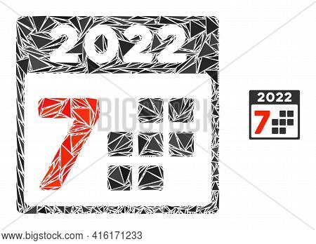 Triangle Mosaic 2022 Year 7 Days Icon. 2022 Year 7 Days Vector Mosaic Icon Of Triangle Items Which H