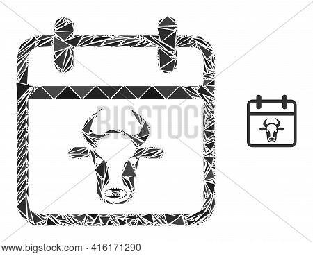 Triangle Mosaic Bull Calendar Page Icon. Bull Calendar Page Vector Mosaic Icon Of Triangle Elements