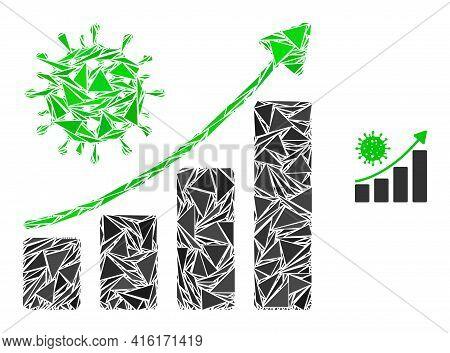 Triangle Mosaic Coronavirus Growing Trend Icon. Coronavirus Growing Trend Vector Mosaic Icon Of Tria